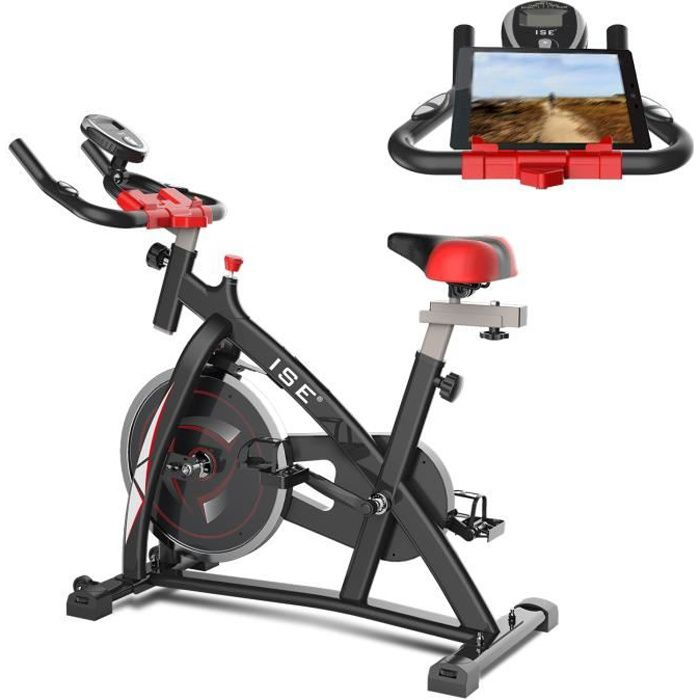 ISE velo biking spinning magnetique,velo d'appartement interieur entrainement + Support capitonné + roue inertie 10kg,SY7802