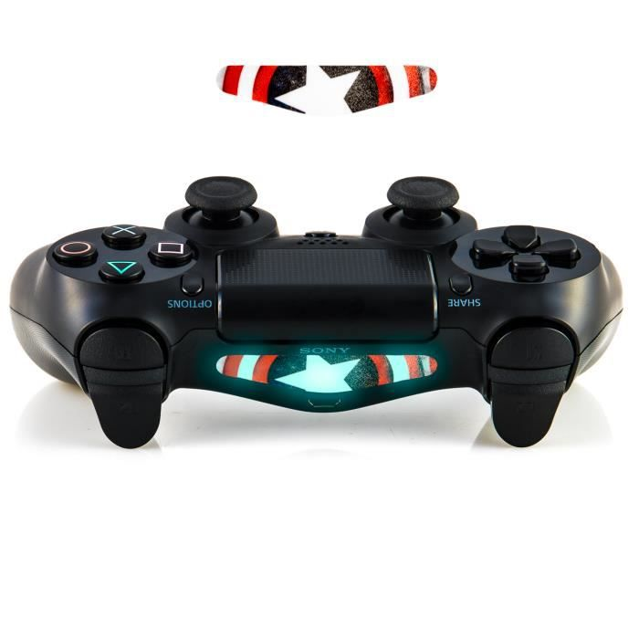 GnG 2x Rouge Captain America LED Light Bar Decal Sticker F PlayStation 4 PS4 Controller DualShock 4