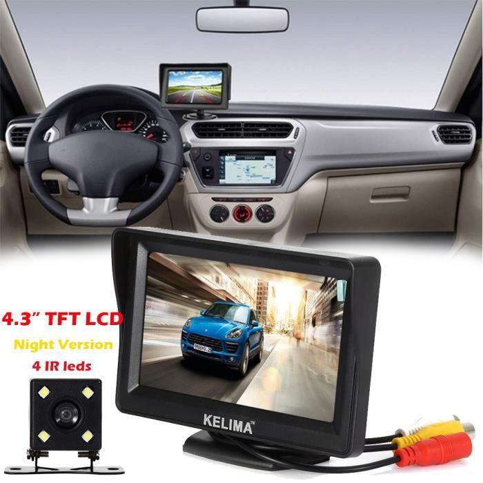 Moniteur de système de vue arrière de voiture 4.3 TFT LCD + Kit de caméra de recul de vision nocturne Miaienu 16