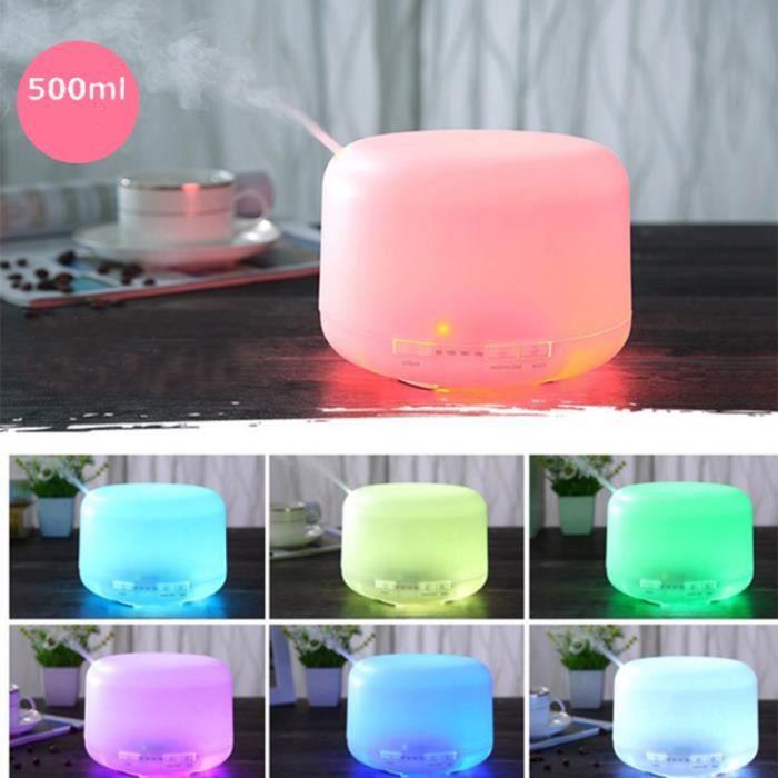 Diffuseur d'Huiles Essentielles 500ML,Humidificateur d'air Diffuseur Arôme Ultrasonique 7 Couleur LED pour Maison, Bureau,SPA
