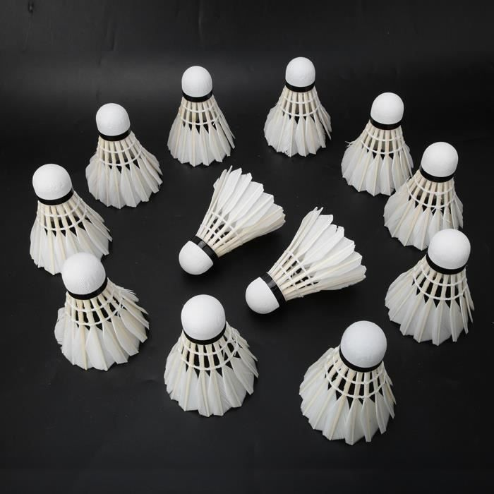 Cikonielf Balle de badminton 12 pièces balles de badminton en plumes de canard volants en plein air entraînement intérieur