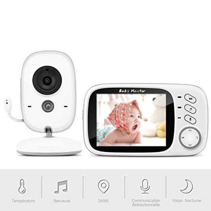 DB18239-Babyphone Caméra, Bébé Moniteur Vidéo Sans fil 3,2 Écran LCD Couleur Ecoute Vision Nocturne Surveillance de la