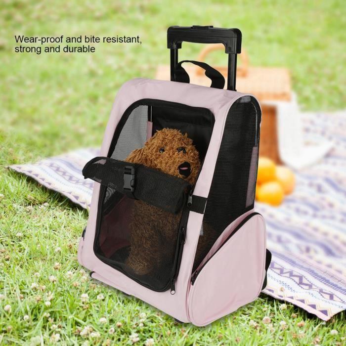 Sac de transport portable pour animaux de compagnie Sac à dos à roulettes Sac à dos pour chien de chat transportant HB069