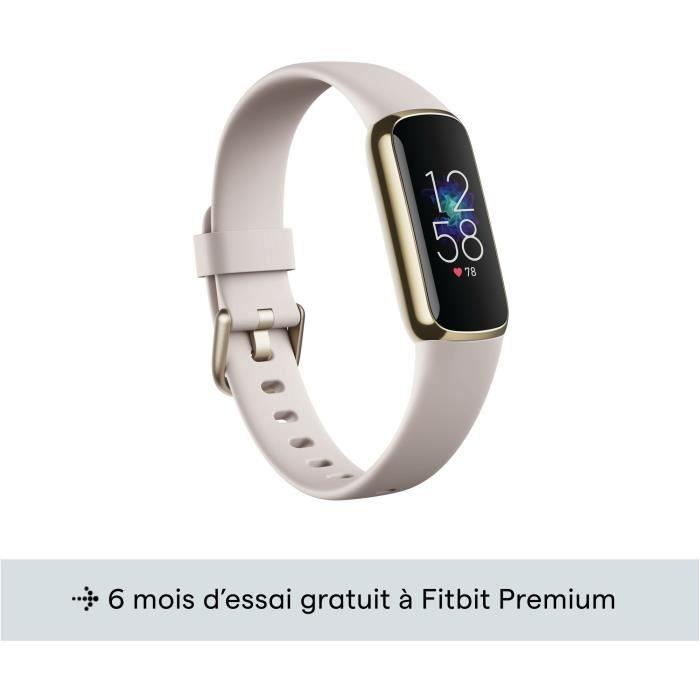 FITBIT Luxe - Bracelet connecté - Acier inoxydable or pâle - Blanc lunaire
