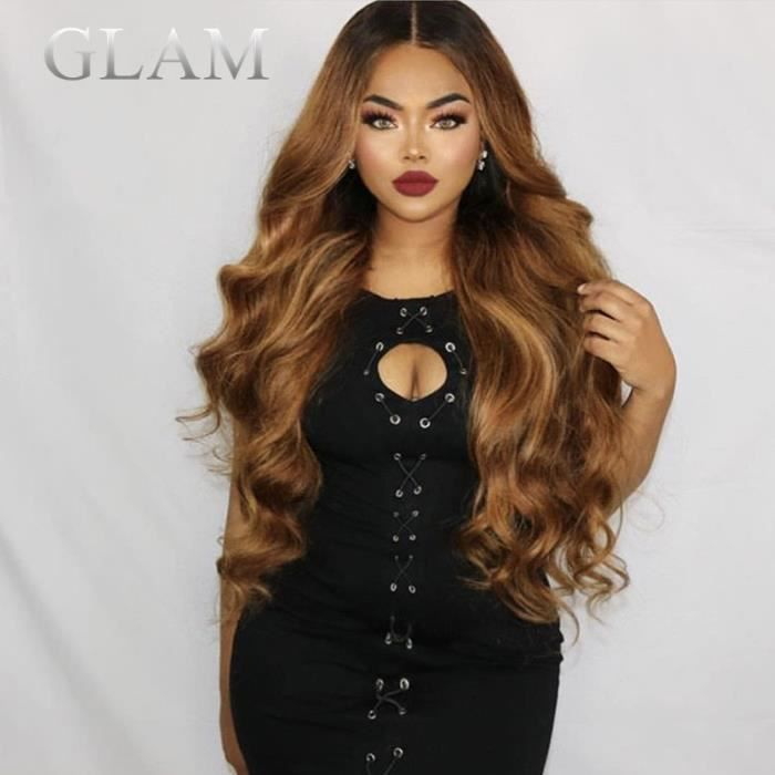 GLAM ®10 inch lace front 13x6 partie profonde dentelle avant perruques de cheveux humains miel blonde corps vague perruque