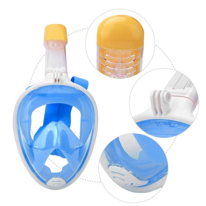 Masque de plongée pour adultes en silicone liquide tout pour le visage complet anti-buée pour Gopro (bleu L - XL)