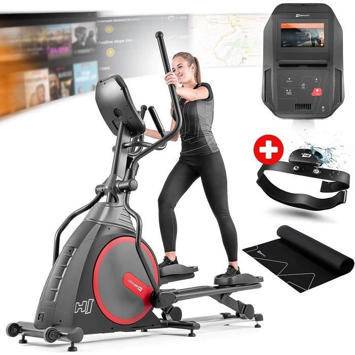 Vélo elliptique Hop-Sport HS-300CF Spectre - Ceinture télémétrique - Tapis d'amortissement - Roulettes de transport