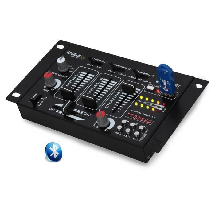 Table de mixage 4 voies 7 entrées avec port USB/BLUETOOTH IBIZA SOUND