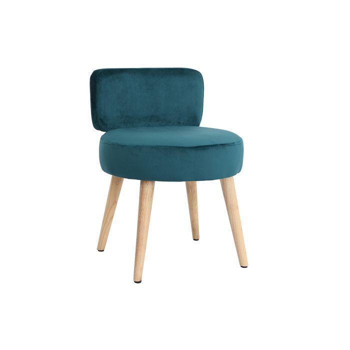 Miliboo - Fauteuil design en velours bleu canard et pieds bois