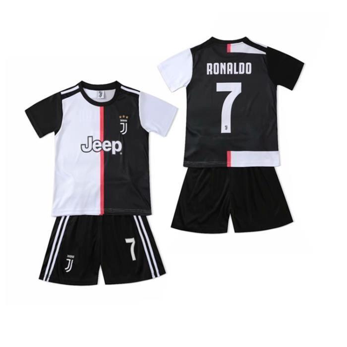 Juventus Maillot de Foot Short Football Soccer Nouveau NO.7 Cristiano Ronaldo 2019 2020 Pas Cher pour Enfant Garçon