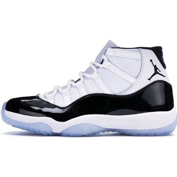 Basket Airs Jordans 11 XI Concorde 45 Retro Chaussures de Pas Cher AJ 11 High pour Homme Femme Noir et Blanc