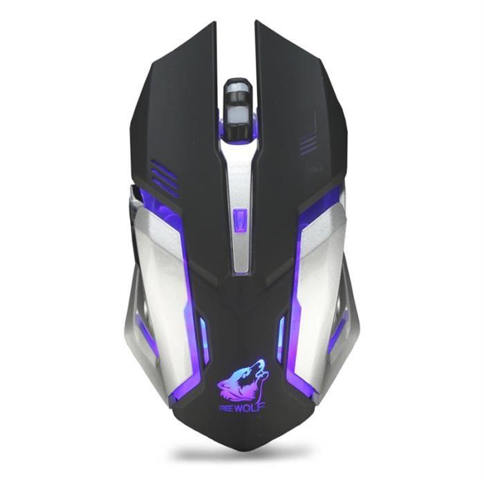 Gaming Mouse sans fil rechargeable USB silencieuse Souris optique (Noir)