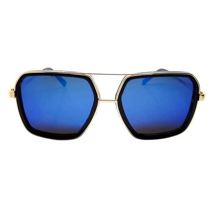 Lunettes Soleil XL BLEU Rectangle Pilote Carrée Gold Doré Or Swag Money Big Bling Sreetwear