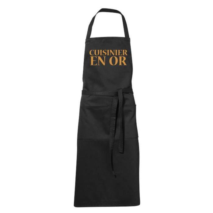 Tablier de cuisine noir Humoristique -cuisinier en or - fete des Pères