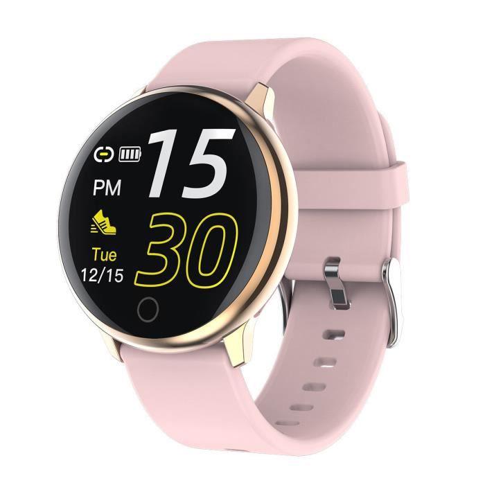 Montre Connectée Femmes Homme Montre Sport Avec Étanche Podomètre Calorie Fitness Tracker d'Activité pour Android iOS-Rose