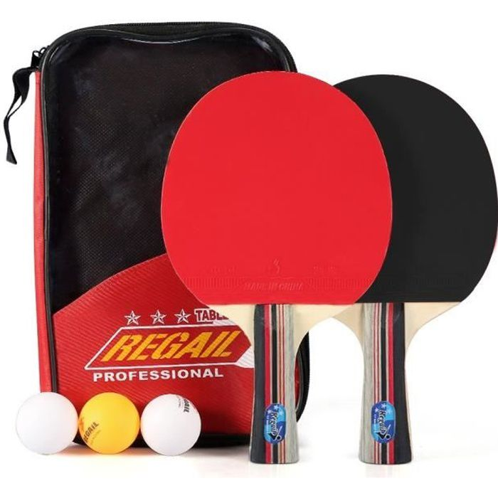 Kit Familial Set De Tennis De Table - 2 Raquette Ping Pong De Peuplier+ 3 Balle+1 Sac
