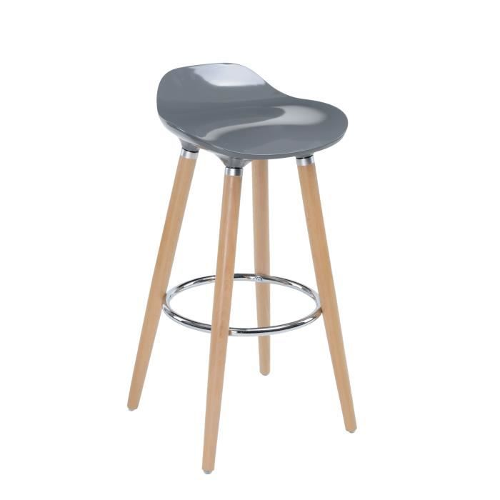 tabouret de bar avec pieds en h tre naturel assise coloris gris style scandinave achat. Black Bedroom Furniture Sets. Home Design Ideas