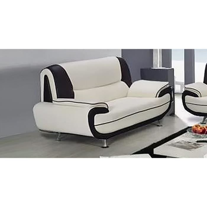 Canap 3 places blanc et noir design ne simili cuir for Canape noir et blanc design