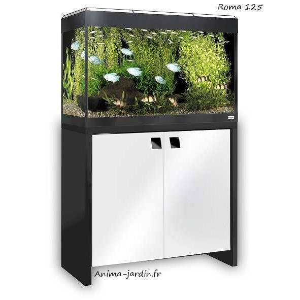 Aquarium roma 125 blanc tout quip avec meuble design for Aquarium meuble design