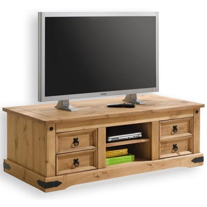 meuble tv en pin 4 tiroirs tequila achat vente meuble tv meuble tv en pin 4 tiroirs cdiscount. Black Bedroom Furniture Sets. Home Design Ideas
