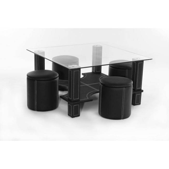Table basse 4 poufs magda noir achat vente table for Table basse pour manger