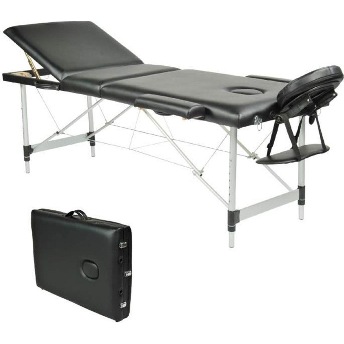 Table de Massage Pliante Portable 6 Zones en Aluminium Noir +