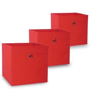 BOITE DE RANGEMENT Boîte de Rangement Pliable Oslo en Rouge -Kit de 3