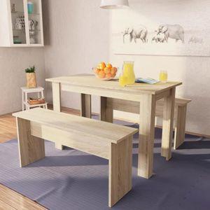 TABLE À MANGER COMPLÈTE Ensemble Table à manger + 2 bancs en bois chêne L.