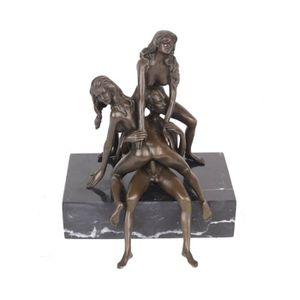 STATUE - STATUETTE Statue érotique en bronze et marbre deux femmes et