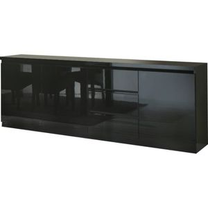 bahut noir laque achat vente bahut noir laque pas cher cdiscount. Black Bedroom Furniture Sets. Home Design Ideas