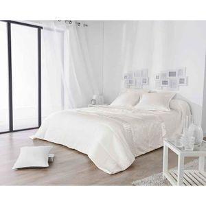 JETÉE DE LIT - BOUTIS Jeté de Lit avec Détail Satiné Blanc 230 x 250 cm