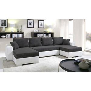 CANAPÉ - SOFA - DIVAN Canapé d'angle convertible ENNO noir et blanc