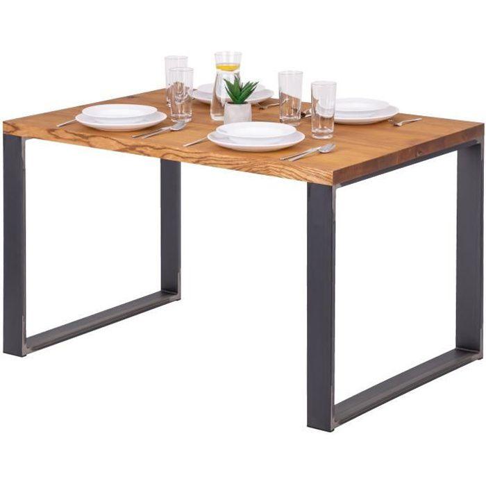 LAMO MANUFAKTUR Table à manger industrielle en bois massif - 120x80x76cm - frêne rustique - pieds acier brut - modèle modern