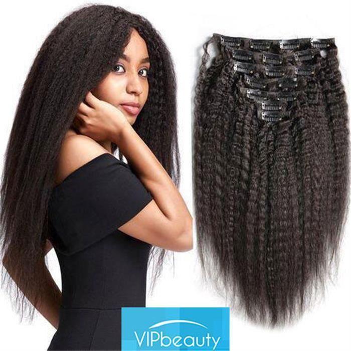 Clip droit Afro crépus Extensions de cheveux humains Remy pleine tête brésilienne pince à cheveux Ins 8 pièces/ensemble 120
