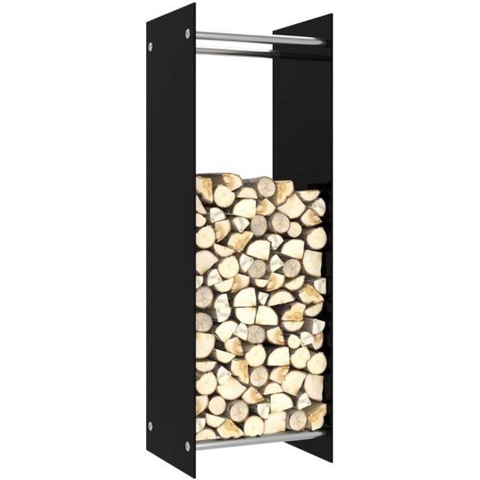 Elégant Portant de bois de chauffage Design - Abri Bûches Range Bûches Porte Portant de stockage Noir 40x35x120 cm Verre ☺24568