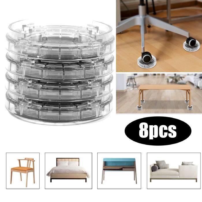 8Pcs multi-slot support de meubles Riser Pieds des meubles rehausseur de lit - table en plastique
