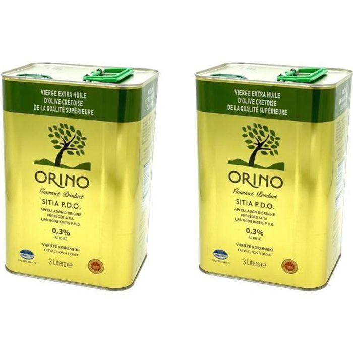 Lot 2x Huile d'olive extra vierge de Crète AOP - Orino - bidon 3 litres