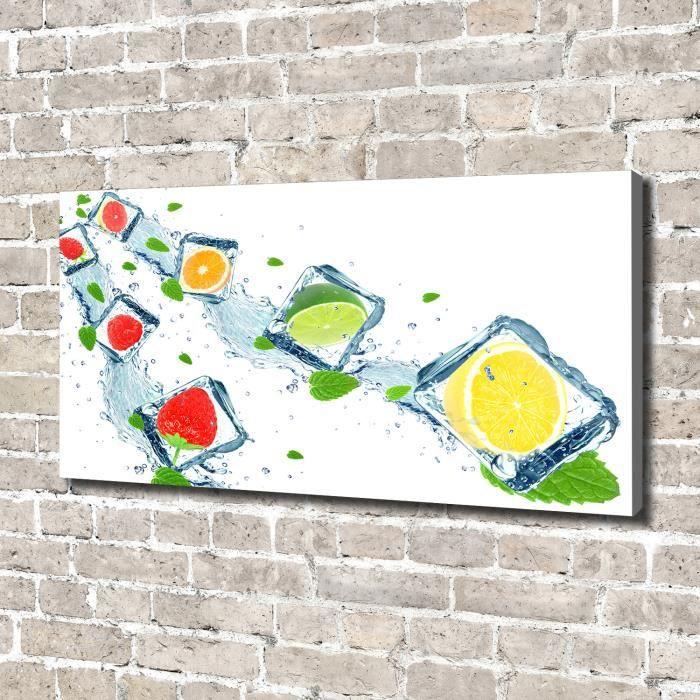 Tulup 140x70 cm art mural - Image sur toile:- Nourriture boissons - Fruits En Cubes - Multicolore Gris Mixte