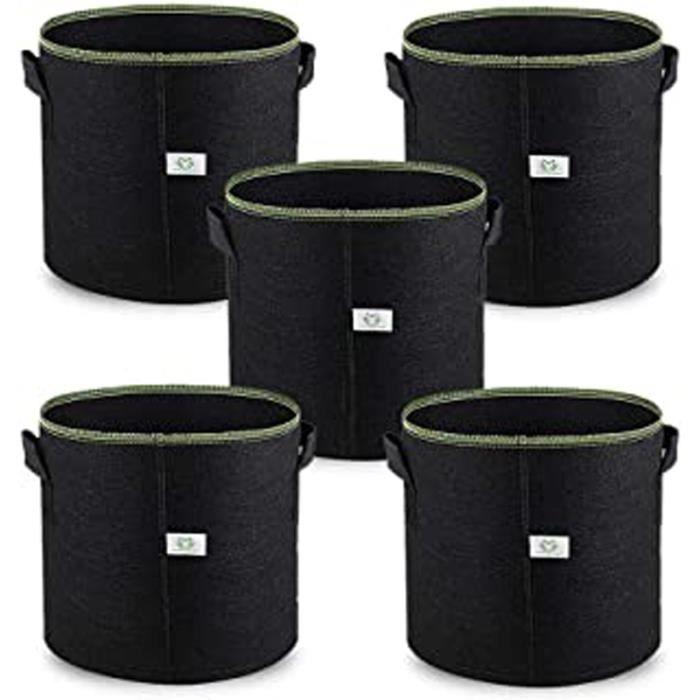 5Gallon - 20L Sac De Croissance Plante Pots En Tissu, 5 Pièces Indoor Planter Sacs Pour Culture De Fleur Légumes Patate, Premium Res