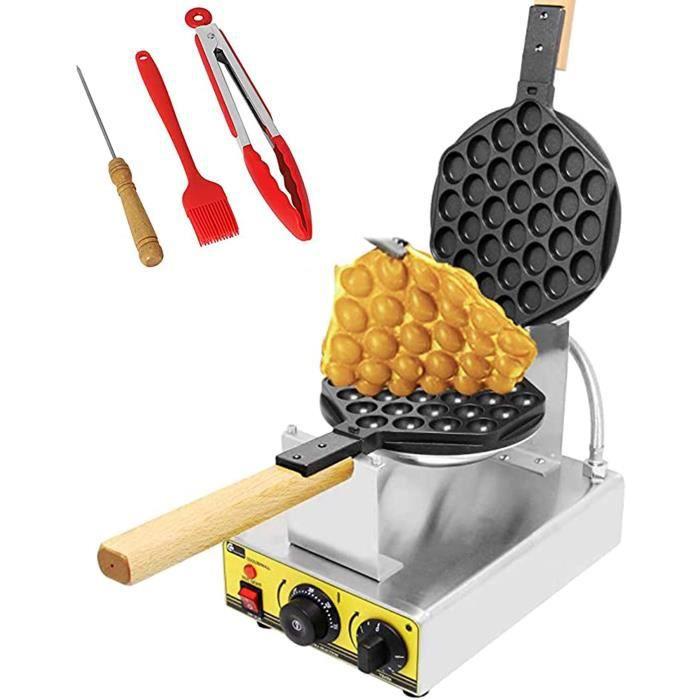 CGOLDENWALL Machine à Gaufres à Bubble Waffle Électrique Anti-adhésive 0-300°C Réglage de La Température I Minuterie 0-5 Minutes I C