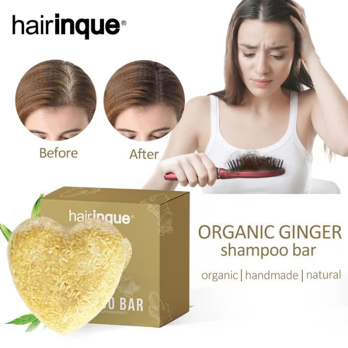 Organic Ginger Shampoo Bar Prevent Hair Loss Growth Hair Shampoo Natural Plant Extract No Chemicals Vegan Products