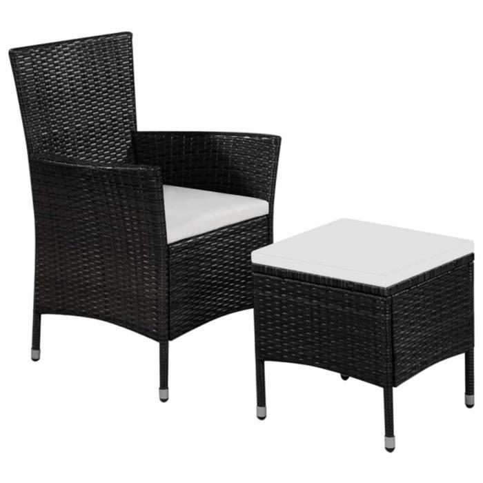Chaise et tabouret d'extérieur et coussins Chaise de jardin Fauteuil de Jardin Résine tressée Noir Nouveau *303884