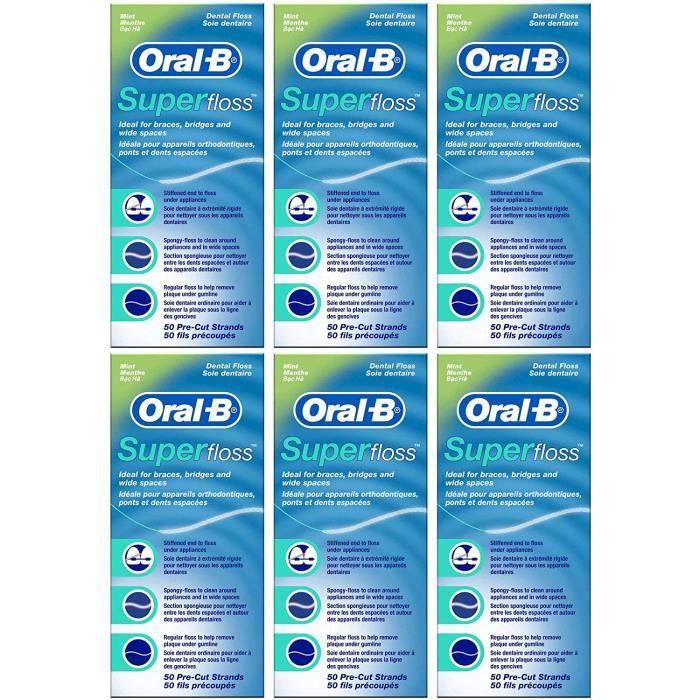 Oral-B Fil-dentaire Super Floss - Goût de menthe - 50 fils précoupés (Lot de 6)