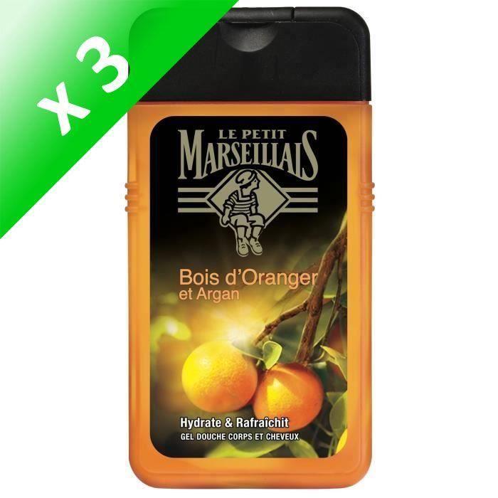 LE PETIT MARSEILLAIS Gel Douche Homme Corps et cheveux Orange Argan - 250ml (Lot de 3)