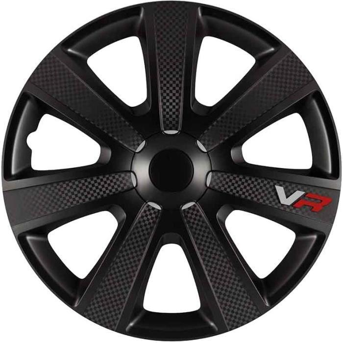 Carpoint enjoliveurs VR Carbon 14 pouces ABS noir ensemble de 4