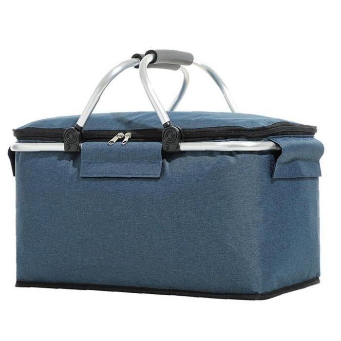 Pique-nique Glacière portable Isotherme Pliable Lunch Bag Grand Sac du panier bleu marine