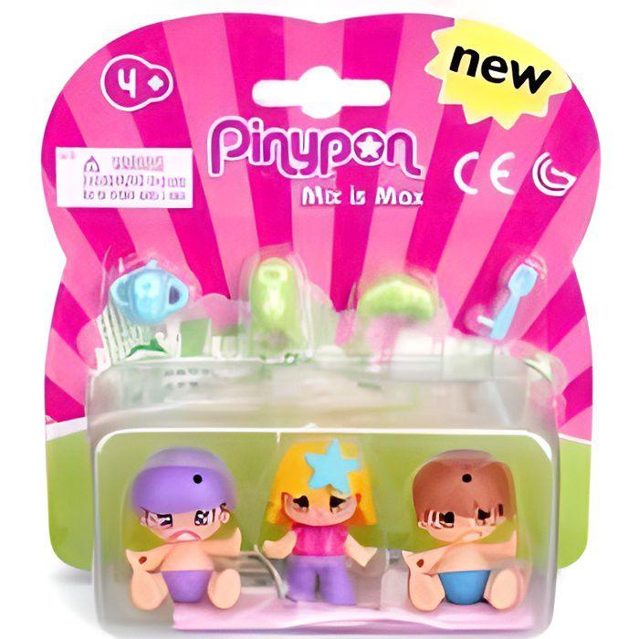 Kit Pinypon 2 bebes + 1 enfant + 4 accessoires - Figurines Mix is Max - Monde miniature - Mini poupees