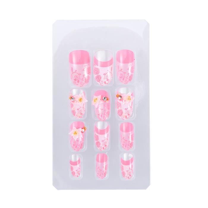 24 pièces diamant fleur ongles stickers poudre patch manucure décorations faux bâton KIT FAUX ONGLES