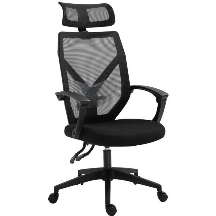 Fauteuil de bureau manager grand confort dossier ergonomique inclinable hauteur assise réglable pivotant tissu maille noir