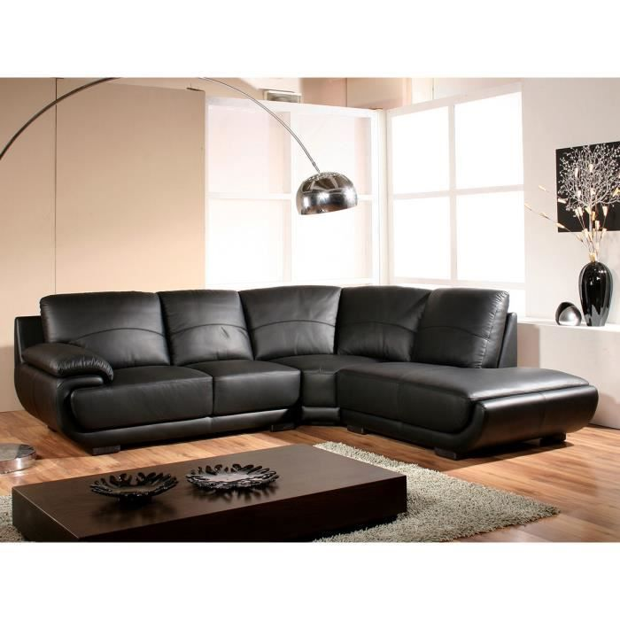 Canapé d'angle droit en cuir noir MOZART